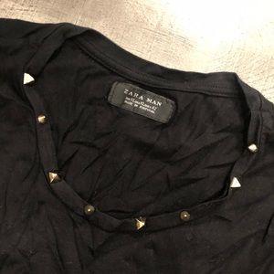 Zara gold stud detailed black t-shirt